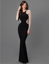 Black Floor Length Long Sleeve Silver Stud Evening Dress