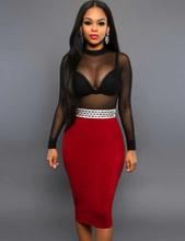 Nobby Red Sheer Mesh Dress