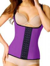 Purple 4 Steel Boned Latex Waist Trainer Vest