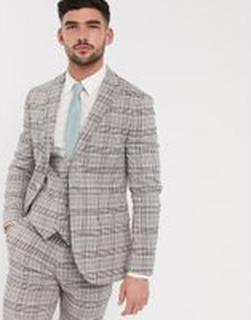 Topman – Beige rutig kavaj med smal passform, del av kostym-Sandfärgad