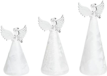 Beliani Dekorativ figur med LED beslysning 3 st vit KITTILA