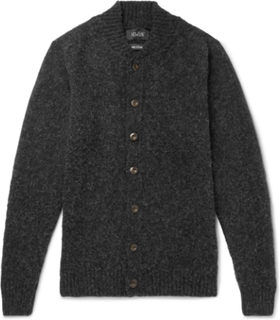 Four Eyes Slim-fit Brushed Virgin Wool Cardigan - Charcoal