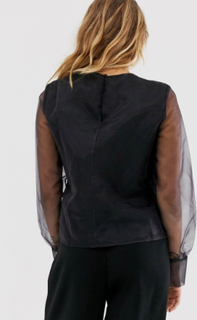 NA-KD long sleeve organza blouse in black