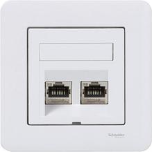 Nätverksuttag Exxact 2xKat6 skärmat vinklat