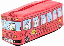 Creative Running Bus Pencil Case for Students Large Capacity Canvas Pouch Cute Stationery Bag