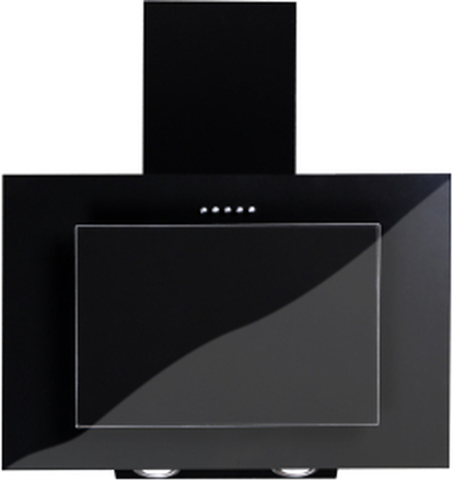 Vägghängd köksfläkt FIERRA svart 50cm/60cm/80cm/90cm + svart glas - svart - 60 cm