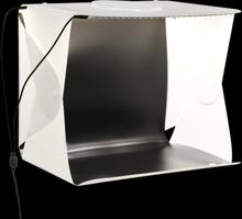 vidaXL Hopfällbart ljustält med LED-lampa 40x34x37 cm plast vit