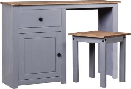 vidaXL Sminkbord set 2 delar grå massiv furu panama