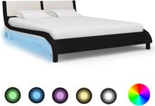 vidaXL Sängram med LED svart och vit konstläder 120x200 cm