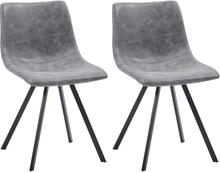 vidaXL Matstolar 2 st grå konstläder