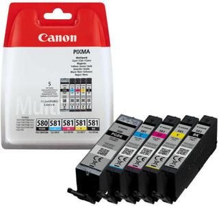 Paket Canon bläckpatroner 1 pgi-580 (11.2ml) och 4 cli-581 (5.6ml/st) c/m/y/bk