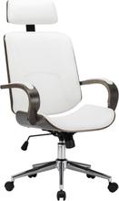 vidaXL Kontorsstol snurrbar med nackstöd vit konstläder och böjträ