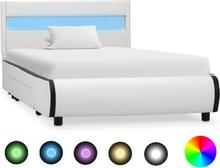vidaXL Sängram med LED vit konstläder 100x200 cm