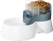 Ebi 2-i-1 vand- og foderautomat til kæledyr 28 x 19 x 17 cm grå og hvid