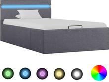 vidaXL Sängram med hydraulisk förvaring och LED mörkgrå tyg 90x200 cm