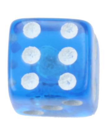 Terning Blå - 5 mm Akrylkule til 1,6 mm stang