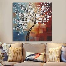 Gerahmte Handfarbe Leinwand Gemälde Wohnkultur Wand Kunst Abstrakt Blume Baum Dekoration
