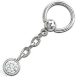 Crystal One Bling BCR Piercing - 1.6 x 10 mm