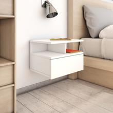 vidaXL Svävande sängbord 2 st vit 40x31x27 cm spånskiva