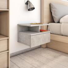vidaXL Svävande sängbord betonggrå 40x31x27 cm spånskiva