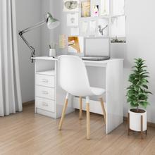 vidaXL Skrivbord med lådor vit högglans 100x50x76 cm spånskiva