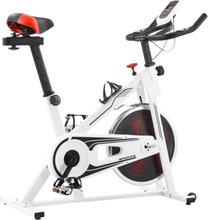 vidaXL Motionscykel med pulsmätare vit och röd