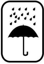 Warnetiketten 74 x 105 mm Regenschirm (schwarz)