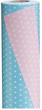 Geschenkpapier Punkte himmelblau/rosa