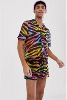 Jaded London festival co-ord shorts in rainbow tiger print - Multi