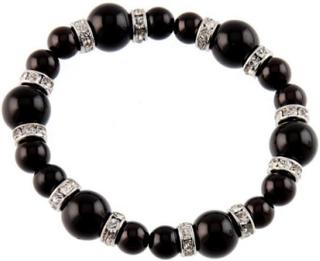 Glamorous - Svart Perlet Armbånd