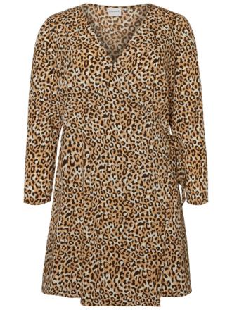 JUNAROSE Leopard Printed Wrap Dress Women Brown