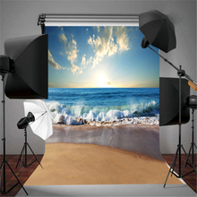 3X5FT Sunny Sea Beach Vinyl Fotografie Hintergrund Hintergrund Studio Requisiten