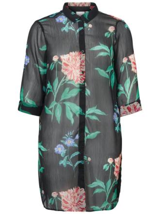 JUNAROSE Flower Printed Lang Shirt Women Black