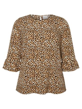JUNAROSE Leopard Printed 3/4 Sleeved Top Women Brown