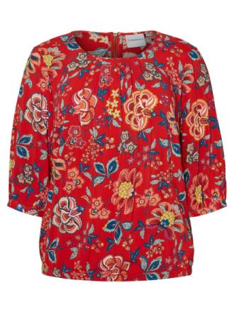 JUNAROSE Flower Printed 3/4 Sleeved Blouse Women Red