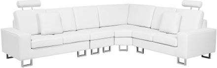 Kulmasohva nahkainen valkoinen STOCKHOLM