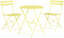 Puutarhapöytä ja kaksi tuolia keltainen FIORI