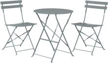 Puutarhapöytä ja kaksi tuolia harmaa FIORI