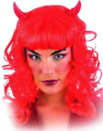 Lady Devil m/ Horn - Rød (Parykk m/ Horn)