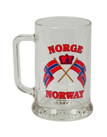 Ølglass med Norge/Norway og Norske Flagg