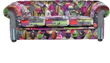 Sohva violetti värikäs tilkkutäkki CHESTERFIELD