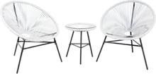 Puutarhakalustesetti valkoinen pöytä ja 2 tuolia ACAPULCO