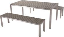 Puutarhakalustesetti pöytä ja penkit harmaa NARDO