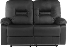 2-istuttava säädettävä keinonahkainen sohva musta BERGEN