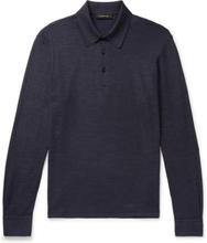 Textured Cotton And Silk-blend Polo Shirt - Navy