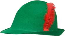 Tyrolerhatt - Grønn med Rød Fjær