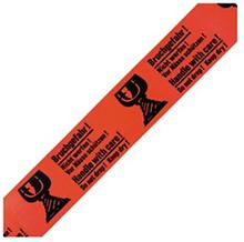 PVC Warnband mit Standardaufdruck ''Bruchgefahr'' mit Glas-Symbol