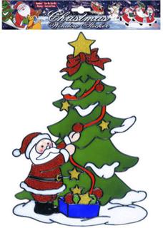 Julenissen Pynter Juletreet - 30x21 cm Vindus-dekorasjon med 1 Stk Selvklebende Figur