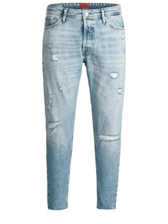 JACK & JONES Fred Original Jos 092 Cut Off Sts Tapered Fit Jeans Men Blue