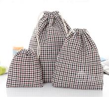 Kordelzug Baumwolle Leinen Grid Streifen Geschenk Taschen Beutel Schmuck Taschen Hochzeit Dekoration Aufbewahrungsbeutel